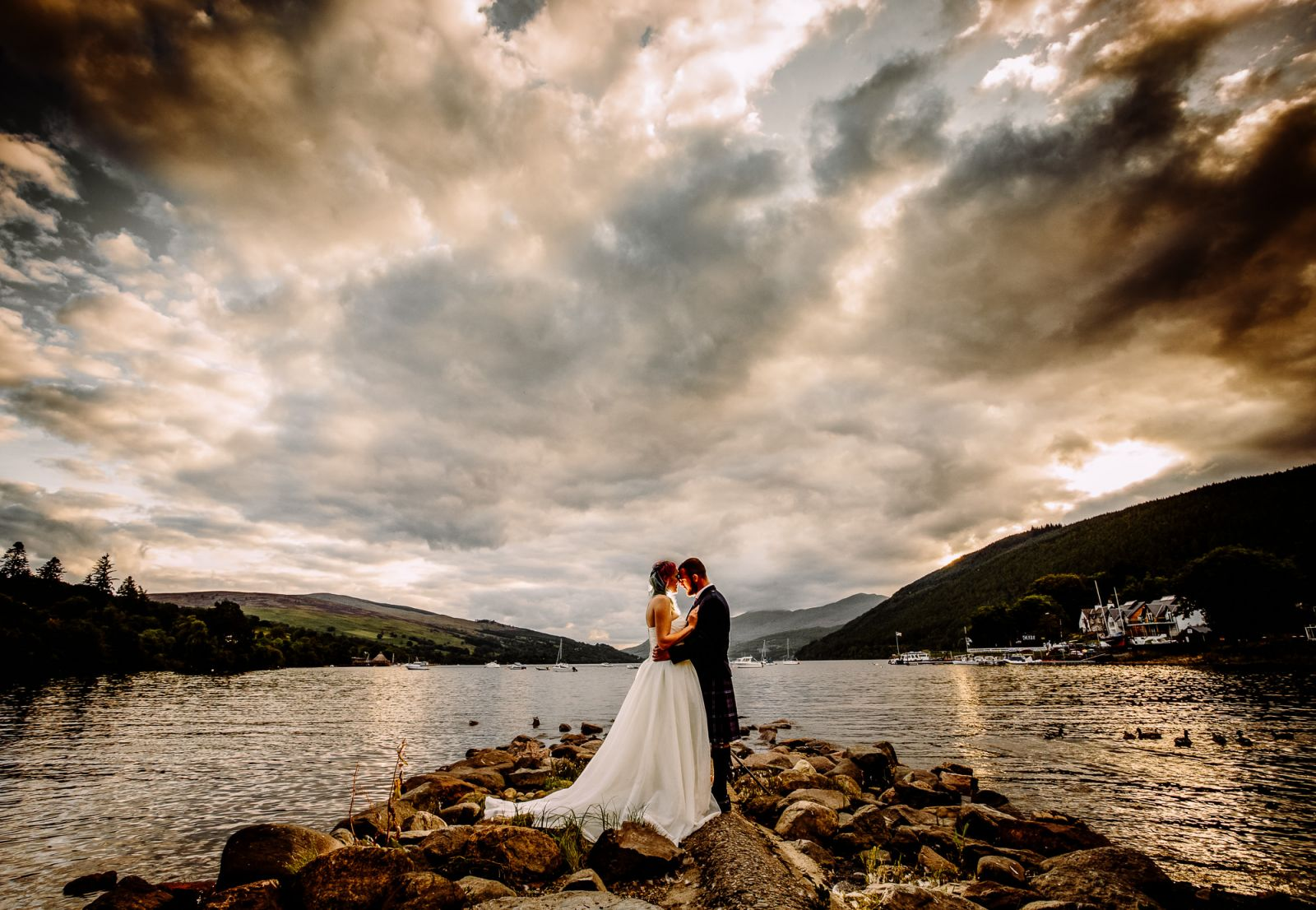 yorkshire wedding photographer - creative landscape wedding shot
